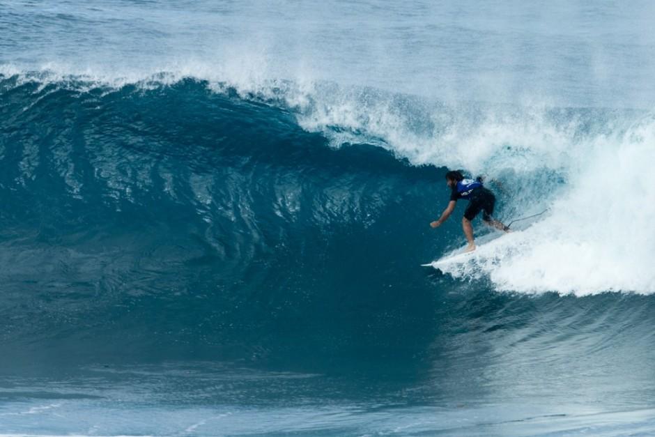 La manga de Aritz fue muy floja de olas, y eso se reflejó en los scores. Foto: Bielmann