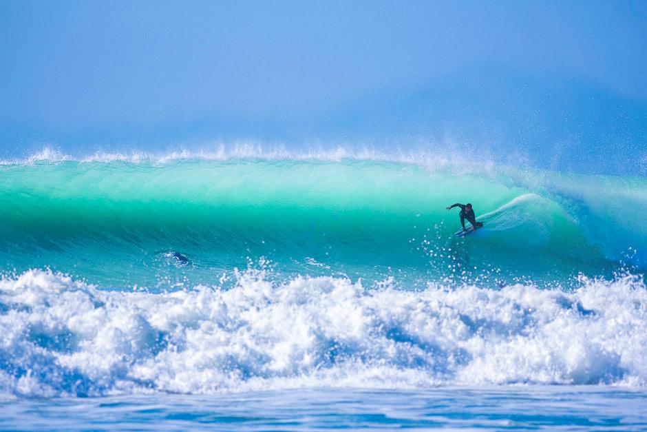 Natxo en el mejor día de su estancia por allí, con condiciones caribeñas. Foto: Jim Kenen